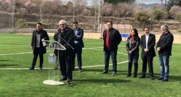 Vicente Muñóz (FFCV) estuvo en la inauguración del nuevo campo del fútbol-8 en 'La Purísima' de Ontinyent