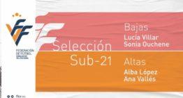 Cambios en la Selección FFCV Femenina Sub-21: Alba López y Ana Vallés sustituyen a Ouchene y Villar
