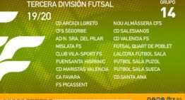 Confirmados los componentes de grupos 14 y 15 de la Tercera División de fútbol sala