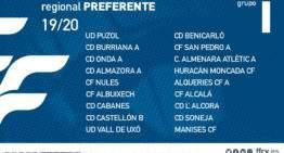 Grupos y calendarios confirmados de la Regional Preferente FFCV 2019-2020