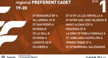 Confirmados los 4 grupos de Liga Preferente Cadete FFCV 2019-2020