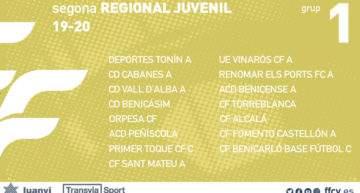 Ya son oficiales los 18 grupos y calendarios FFCV de Segunda Regional Juvenil 2019-2020