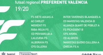 Confirmados los grupos oficiales 2019-2020 del futsal FFCV en Preferente, Primera y Segunda Regional