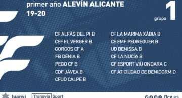 Grupos definidos para la categoría Alevín en Alicante para la temporada 2019-2020