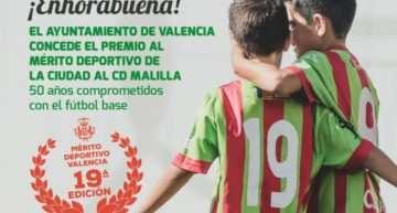 El CD Malilla recibe el Premio al Mérito Deportivo 2018 del Ayuntamiento de Valencia