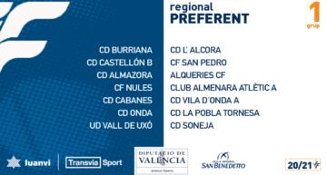 Calendarios de competición 20-21 para los seis grupos de Regional Preferente FFCV