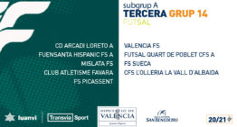 Calendarios oficiales de los subgrupos Tercera División FFCV de fútbol sala 2020-21
