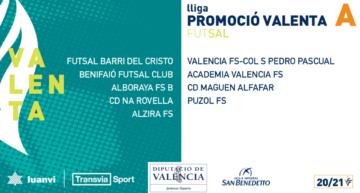 Los dos grupos de la Liga Promoción Valenta de futsal 20-21 ya tienen componentes