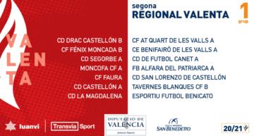 Calendarios de los cinco grupos de Segunda Regional Valenta 20-21