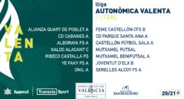 La Liga Autonómica Valenta de futsal 20-21 constará de un único grupo y estos son sus integrantes