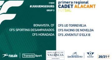 Grupos confirmados de Primera Regional Cadet de fútbol sala para la segunda fase