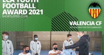 La Academia del Valencia CF, finalista en los ECA Youth Football Award 2021