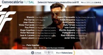 Segunda lista de convocados de la Selecció Valenciana masculina Sub-19 de futsal